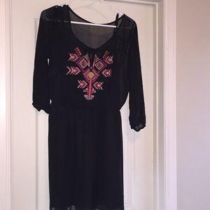 Black Tribal Embroidered Dress
